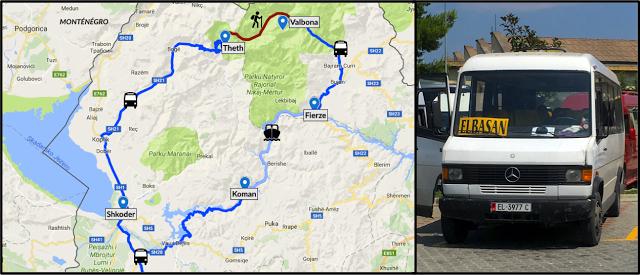 Itinéraires, transports et routes en Albanie