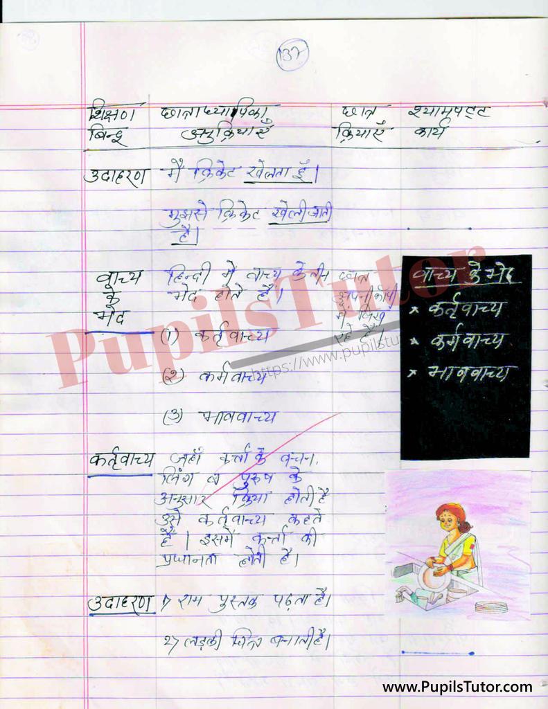 Vachya aur Vachya Ke vibhinn Bhed Evam Prakar par Lesson Plan in Hindi for BEd and DELED