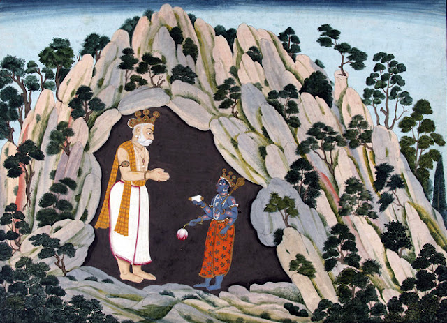 Krishna and Muchukunda in a Cave in the Himalayas