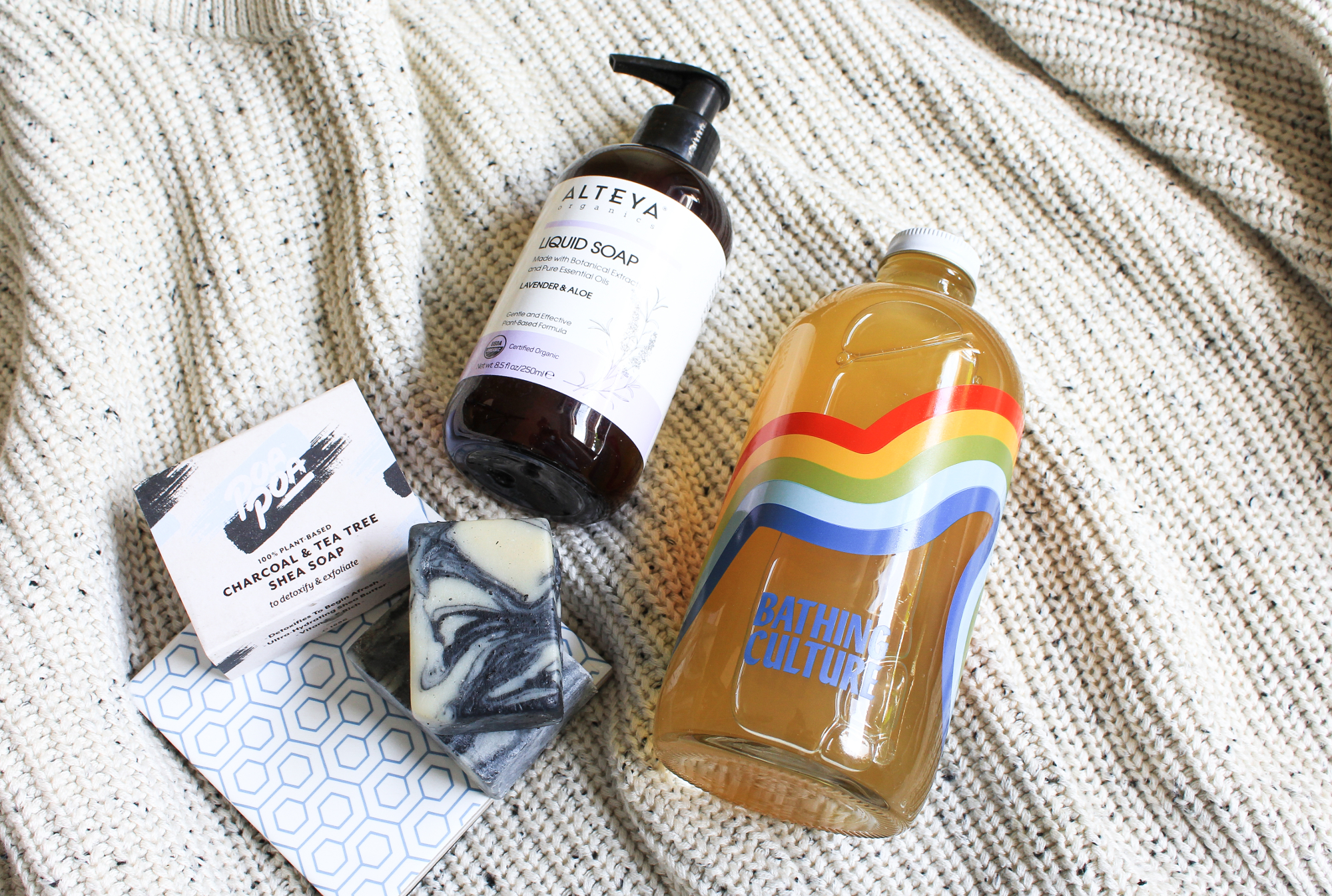 Alteya Organics Liquid Soap Lavender Aloe, Poapoa Charcoal Tea Tree Shea Soap, Bathing Culture Refillable Mind Body Wash. Lovelula, Beauty Heroes.