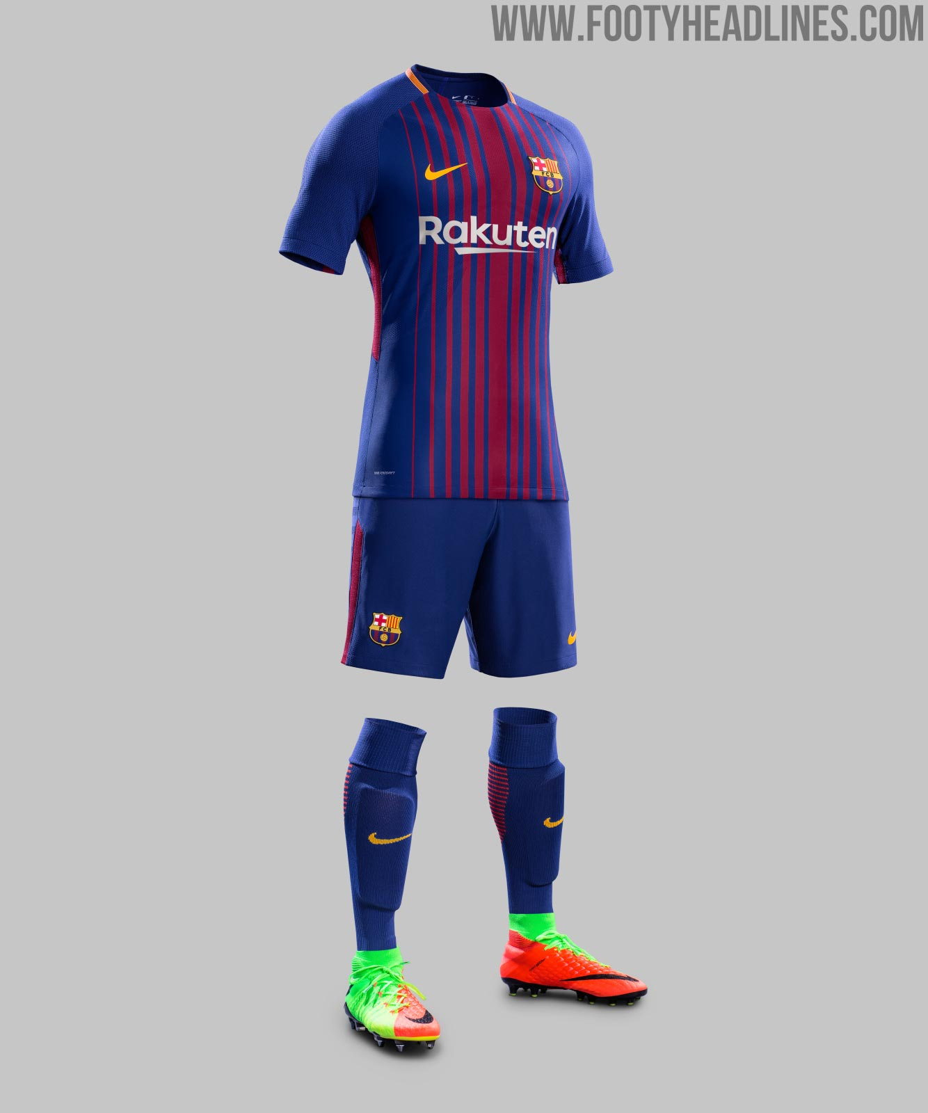 blue shorts and socks both with gold logos and red accents complete the outstanding look of the barcelona 17 18 home kit