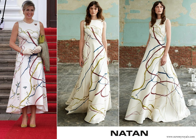 Queen Maxima wore Natan hand-painted silk and cotton shantung dress