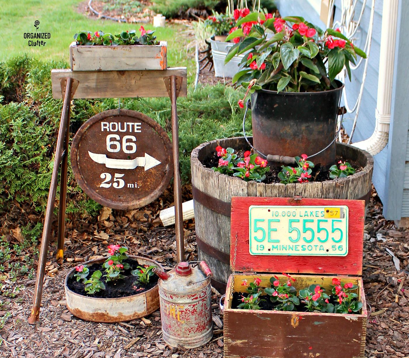 Vintage Garden Junk And Wax Begonias