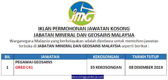 Permohonan Jawatan Kosong di Jabatan Mineral dan Geosains Malaysia Disember 2019