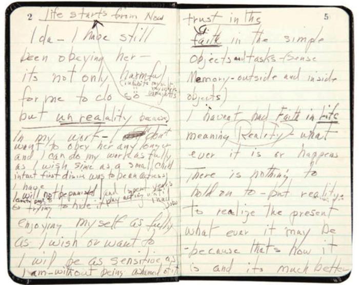 Marilyn Monroe, diario, appunti, notes, pensieri, scrittura