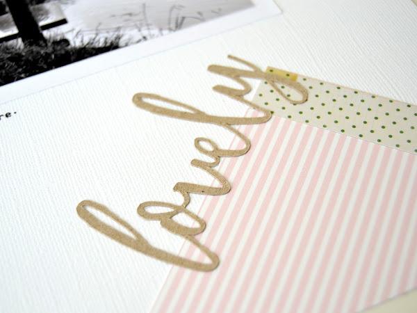 Layout de scrap en rosa, negro y retales de papel