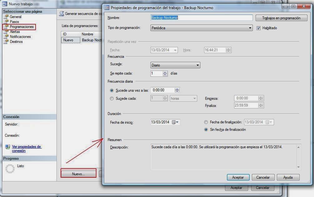 Periodicidad acciones del paso SQL Server