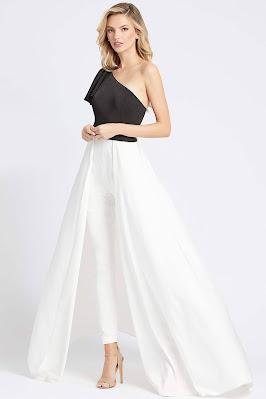 One Shoulder Evening Dress Mac Duggal Ieena Black/white dress