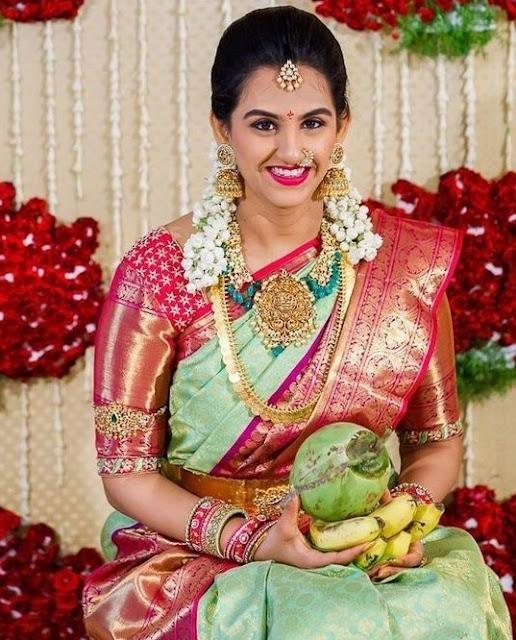 Bride in Nakshi Jhumkas and Kasu Mala