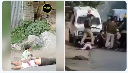 صورة مؤلمة من كشمير، الشرطة الهندوسية تقتل شيخا مسلما وتضع حفيده على صدره لالتقاط الصور