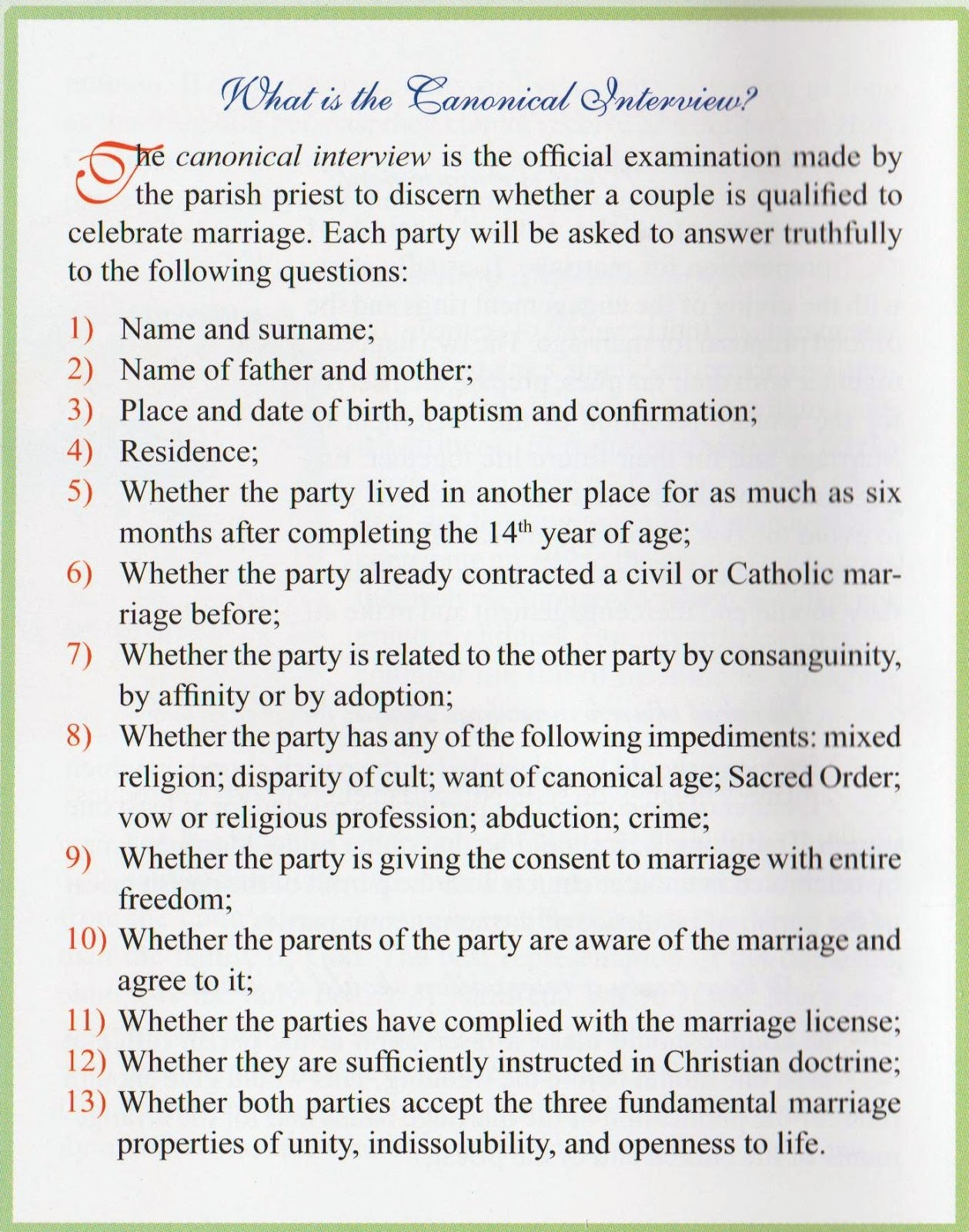 Catholic Church Requirements Marriage