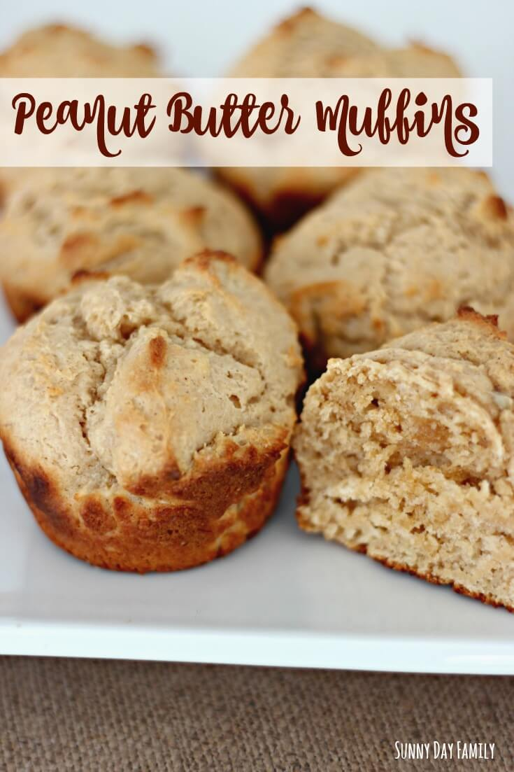 Peanut Butter Muffin recipe packed with protein! Greek Yogurt adds protein to these peanut butter muffins and Bisquick makes them effortless. Make these super easy peanut butter muffins for breakfast or an afternoon snack!