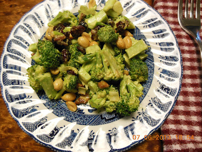 Easy make ahead Broccoli Salad dressed with Curry. For Sunday Supper Suggestion.