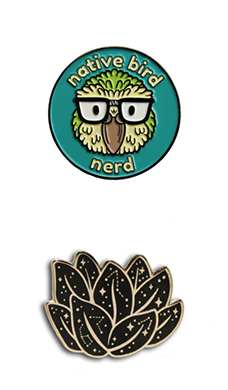 Pepper Raccoon pins native bird nerd and cosmic constellations succulent pin