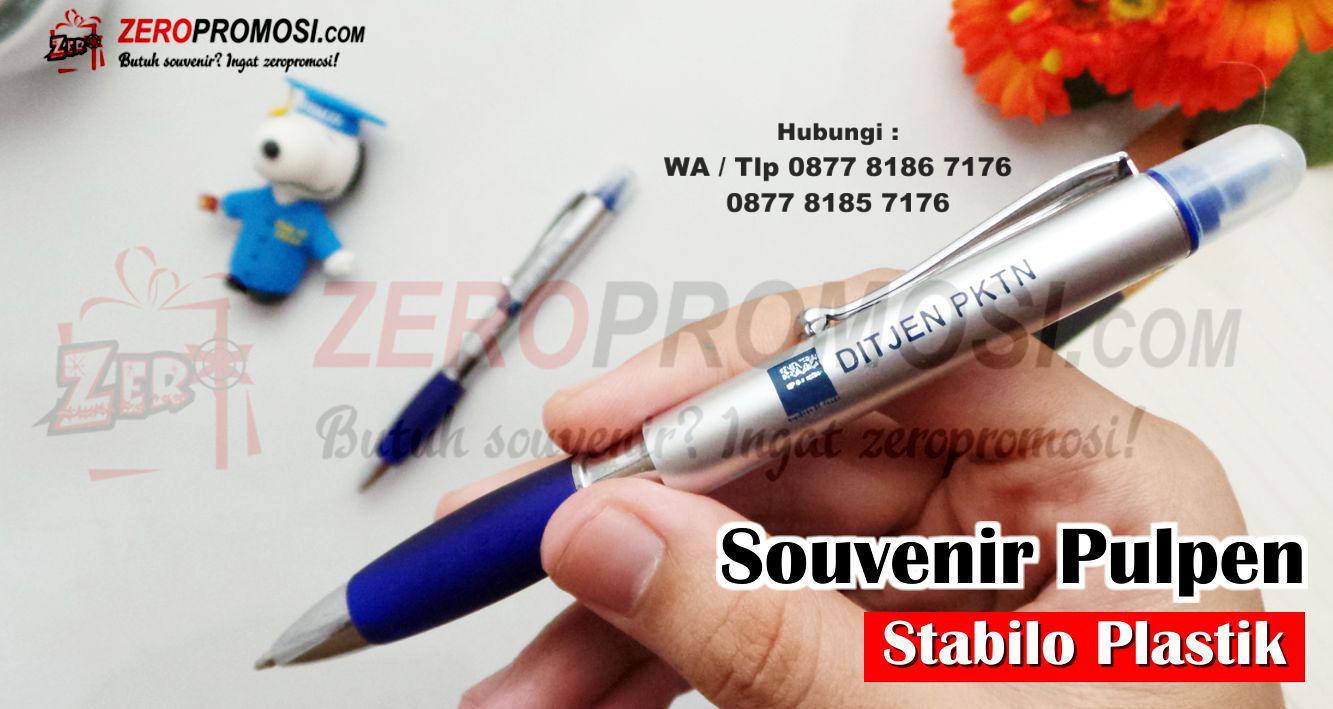 Pen Promosi, Souvenir Pen Stabilo Strip Warna, Jual Souvenir Promosi Pen Stabilo Cetak Logo, Pen Promosi, Souvenir - Pena dengan ujung stabilo