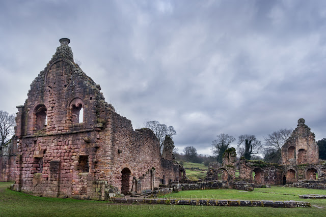 Historic remains of Cistercian Fountains Abbey in the North of England