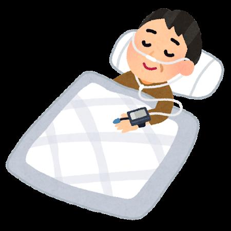 睡眠時無呼吸症候群の簡易検査のイラスト