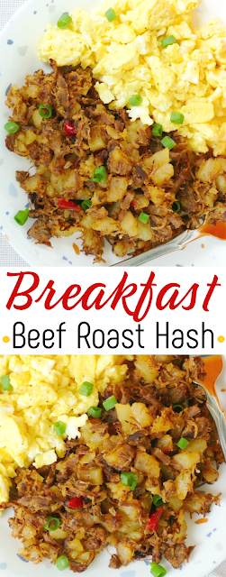 Use your leftover beef roast and potatoes in this delicious breakfast beef roast hash! Pure old school comfort food that's great with a fried egg on top, scrambled eggs on the side, cheddar cheese or sliced green onions on top!