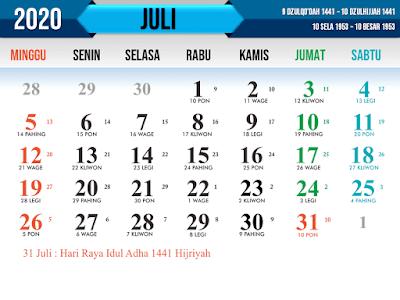 Download Kalender Jawa tahun 2020