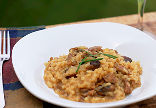 bowl of sausage risotto