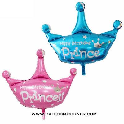 Balon Foil Happy Birthday Mahkota Prince & Princess (Medium)