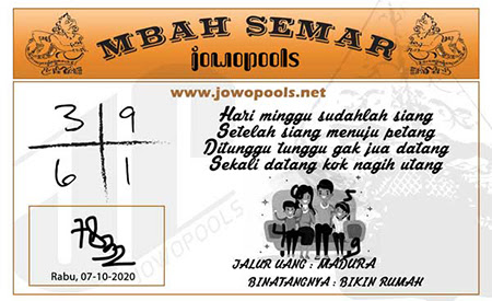 Mbah Semar SDY Rabu 07 Oktober 2020