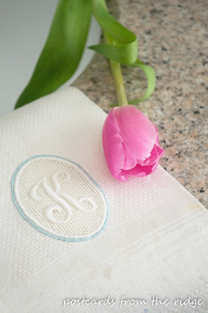 Vintage Monogrammed Guest Linen and Pink Tulip. Postcards from the Ridge