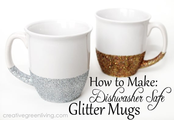 Glitter mugs, #creativegreenliving, #giftidea