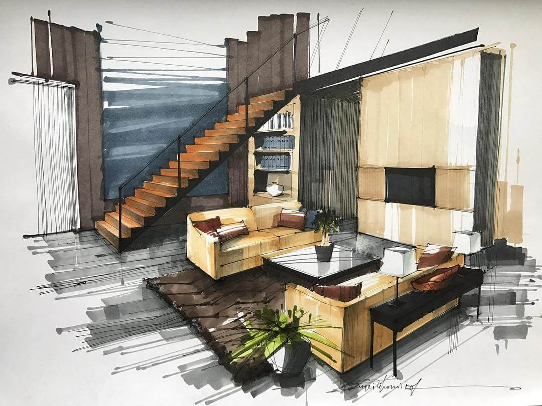 07-Living-Room-and-Split-Level-Apartment-Sergei-Tihomirov-СЕРГЕЙ-ТИХОМИРОВ-Varied-Living-Room-Interior-Design-Sketches-www-designstack-co