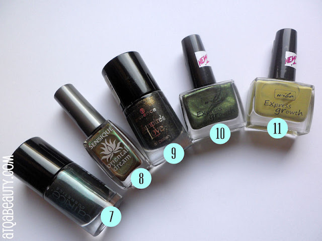Catrice, Ultimate Nail Lacquer, 600 After Eight :: Sensique, Oriental Dream EL, 259 Moss Temple :: Essence, Vampire's Love EL, 01 Gold Old Buffy :: Wibo, Express Growth, 352 :: Wibo, Express Growth, 344