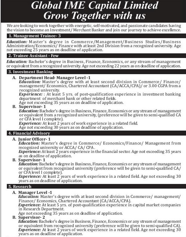 Global IME Capital Bank Job Vacancy for Various Positions