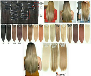Leeons Hair Extensions Clips - Women's Multicolor Clip-Ons for Smooth Fixing and Attaching of Hairs