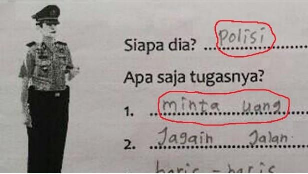 Heboh ! Jawaban Anak SD Ini Tentang Apa Tugas Polisi, Apa Komentar Anda?