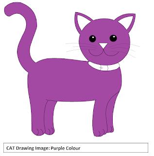 Cat drawing Pictures - Purple Colour
