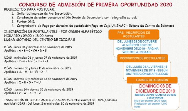 Examen de Admisión UNSAAC 2020