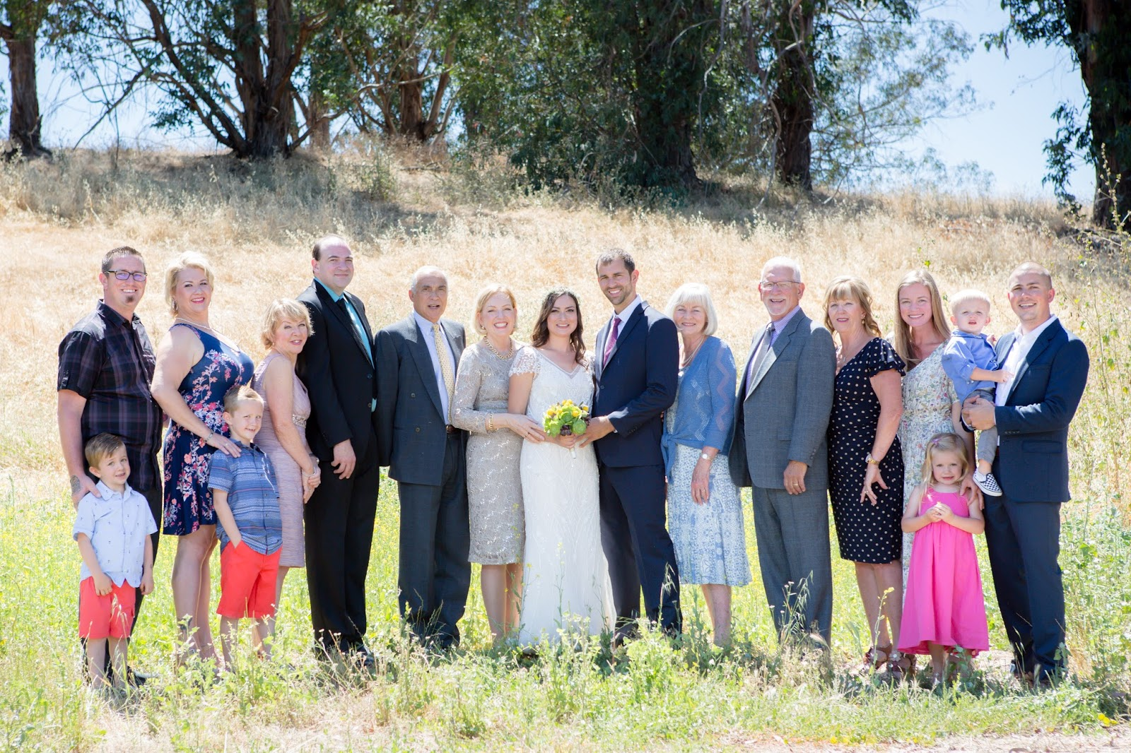 Outdoor Summer Wedding Family Photo