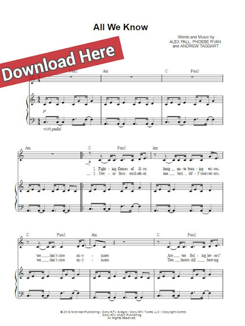 the chainsmokers, all we know, sheet music, piano notes, chords, download, print, keyboard, guitar, klavier noten, tutorial, lesson, cover