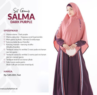Koleksi Gamis Syari Muslimah Salma Dark Purple Set Syari by AULIA Fashion