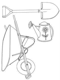 Utensilios y herramientas para la jardinería dibujo para colorear