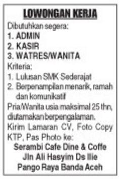 Lowongan Kerja Banda Aceh Olx