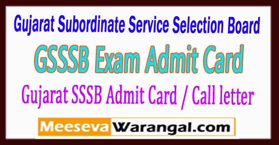 GSSSB Gujarat Subordinate Service Selection Board Live Stock Inspector Other Posts Exam Date 2017 Admit Card
