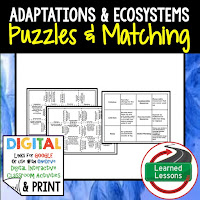 Adaptations, Life Science Puzzles, Life Science Digital Puzzles, Life  Science Google Classroom, Vocabulary, Test Prep, Unit Review