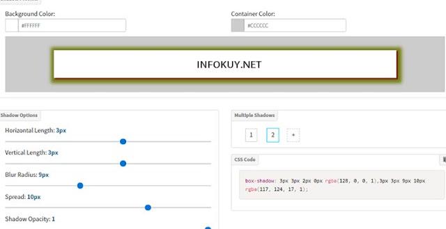 CSSportal website box shadow generator