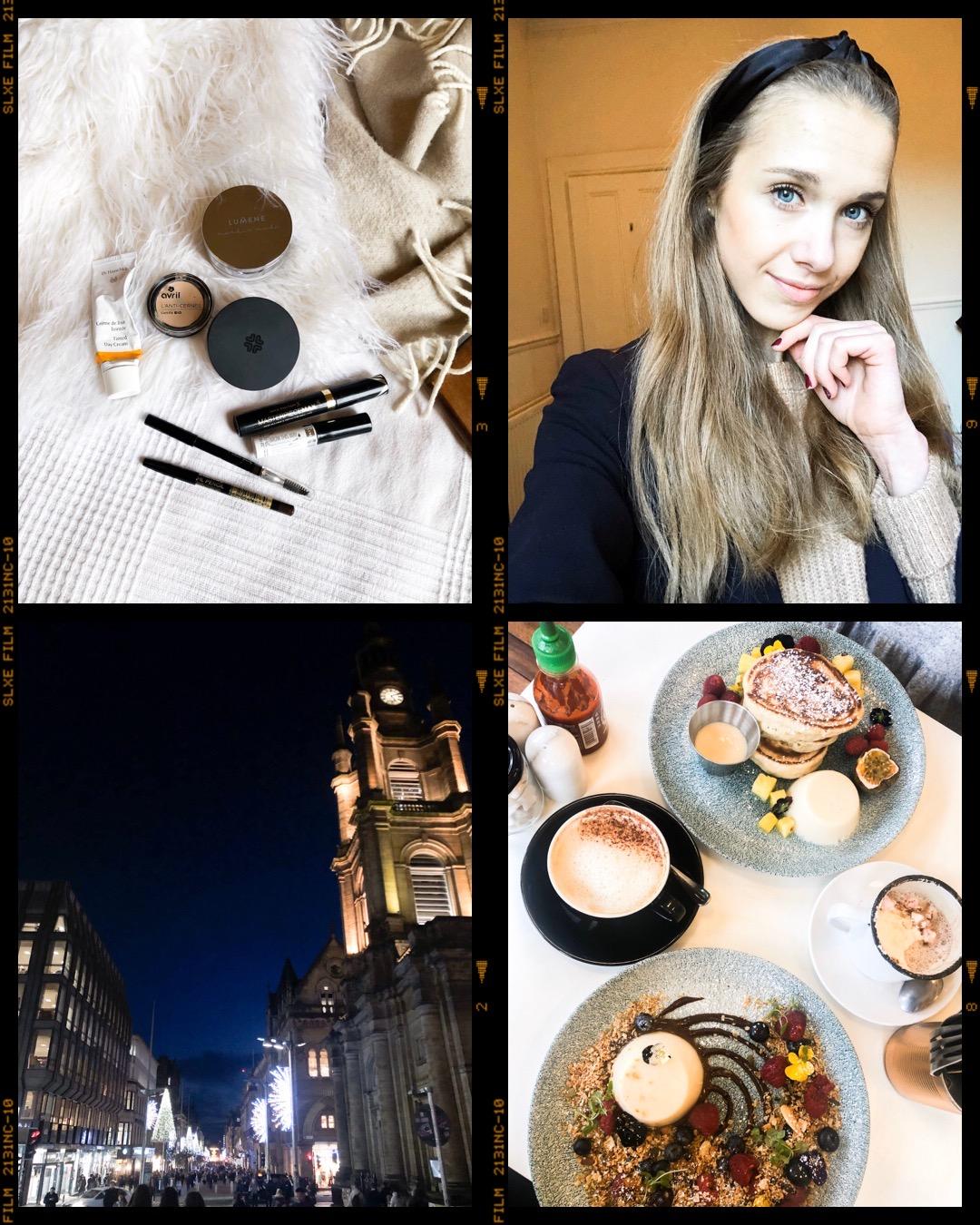 Make up products, natural make up, selfie, Christmas lights, Glasgow cafe, coffee shop, pancakes, breakfast, granola - Meikit, luonnollinen meikki, jouluvalot, kahvila, aamupala, kahvi, pannukakut