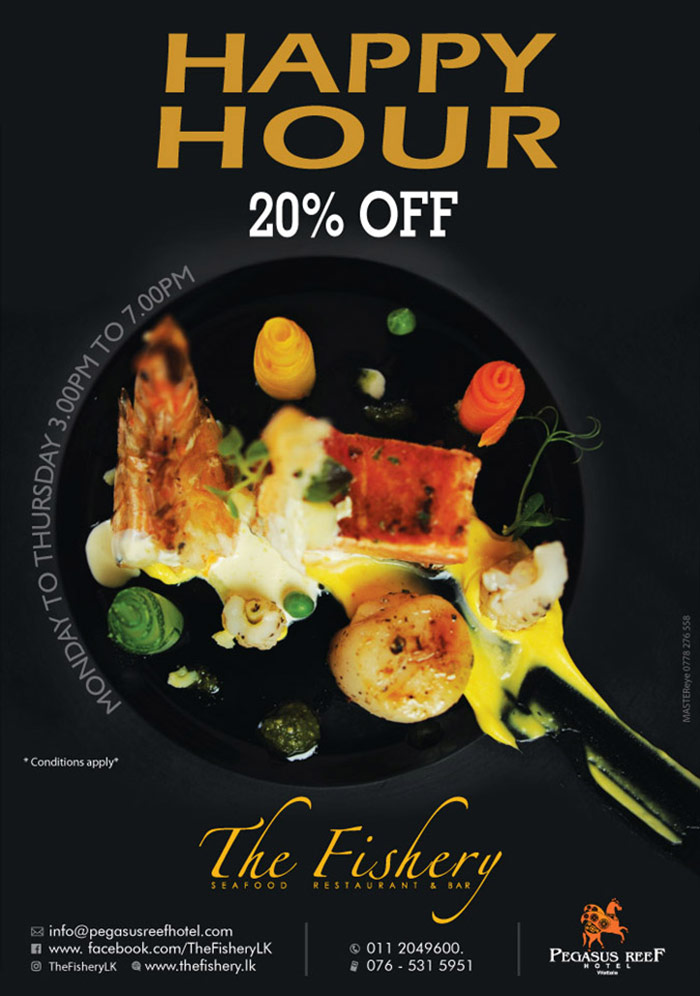 Happy Hour at The Fishery Sea Food Restaurant | 20% Off.
