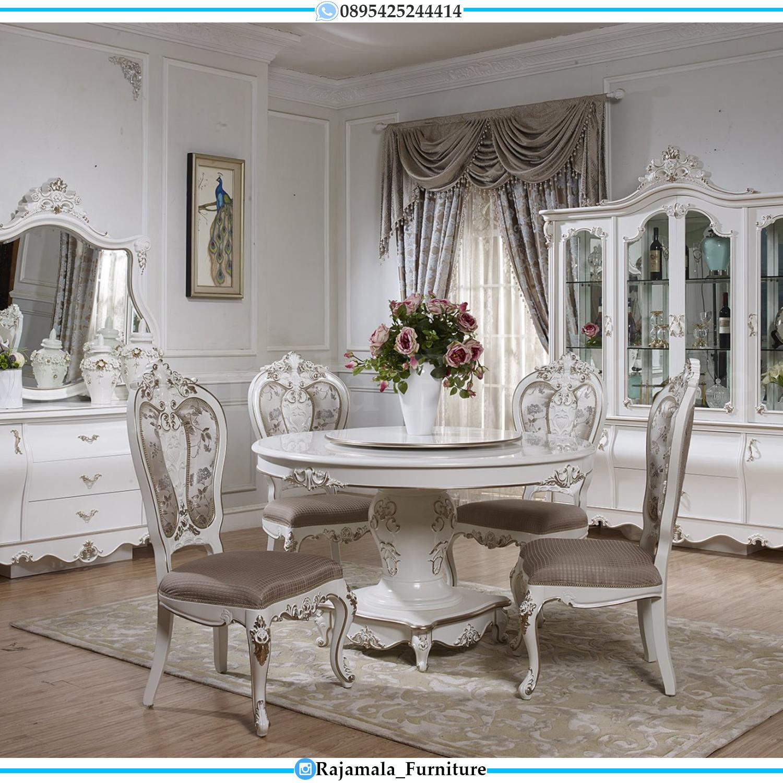 Model Meja Makan Mewah Bundar Putih Luxury Carving Jepara Terbaru RM-0123