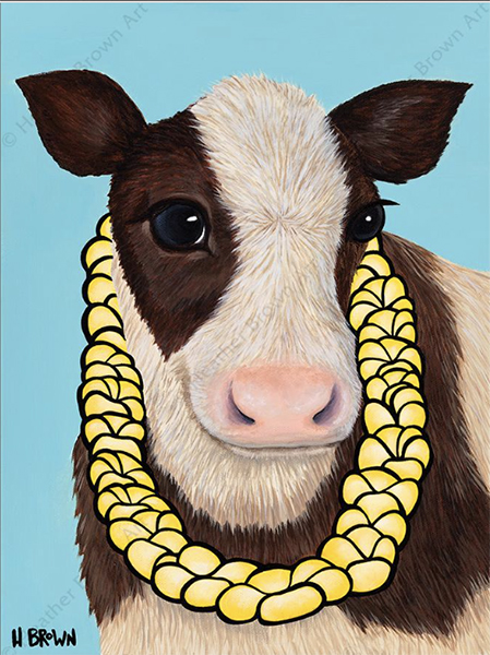happy cow vegan art heather brown