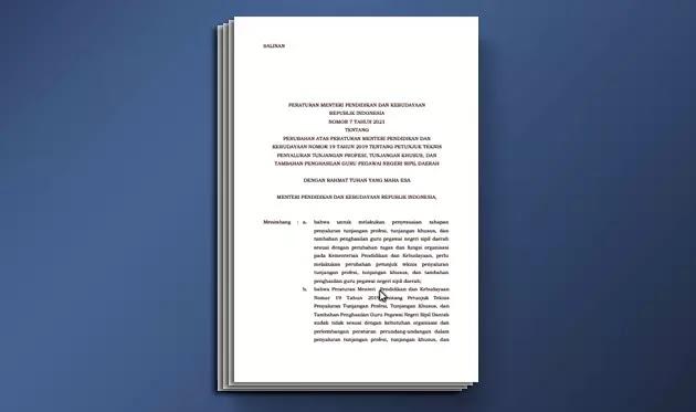 Permendikbud Nomor 7 Tahun 2021 tentang Perubahan Permendikbud Nomor 19 Tahun 2019 tentang Juknis Penyaluran Tunjangan Profesi, Tunjangan Khusus, dan Tambahan Penghasilan Guru PNS Daerah