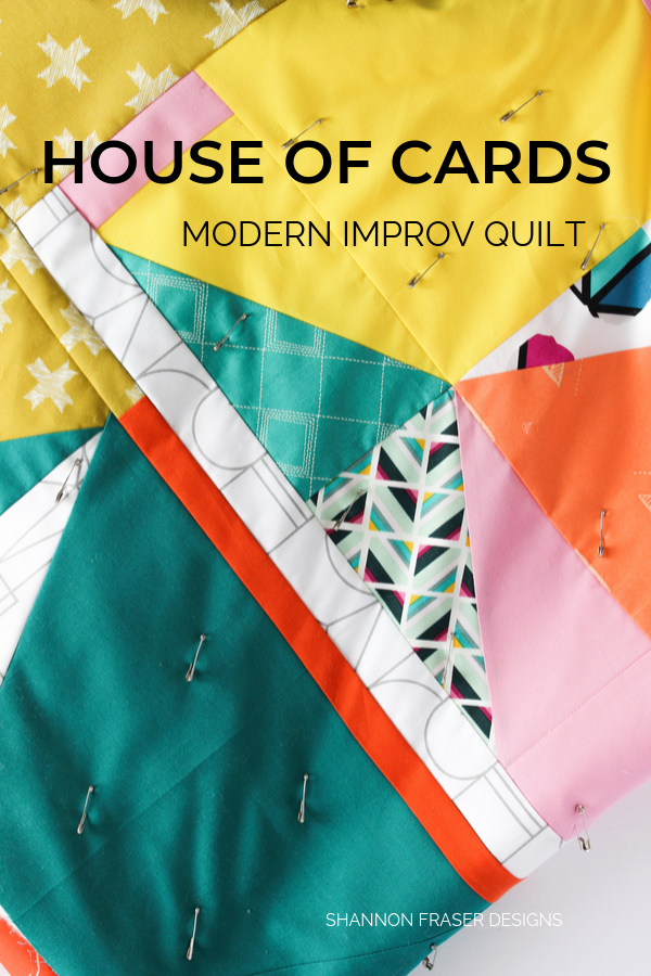 House of Cards improv quilt | Q4 Finish-a-Long List of Projects | Shannon Fraser Designs #modernquilt #improvquilting #color