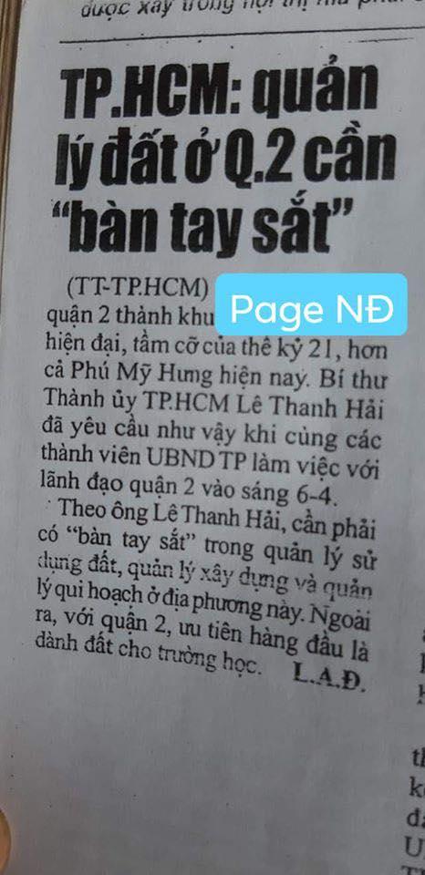 """Lê Thanh Hải """"bàn tay sắt"""" ở Thủ Thiêm"""